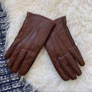 Vintage rabbit fur gloves leather size 9.5 large